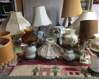 Many Lamps, children's jack & jill, several gone with the wind, hobnail, stain glass, vintage desk lamp adjustable, numerous coal oil lamps and chimneys