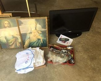 Religous pictures with beautiful frames, TV NOT included