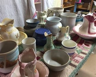 Lots of pottery, bowls  blue one in center is at least 80 years + has a lid no chips or cracks RARE find