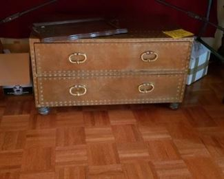 Handcrafted by Sarreid, this a nice brass clad vintage chest with 2 drawers.