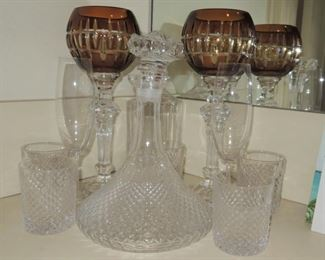 Crystal decanters, glasses and candleholders