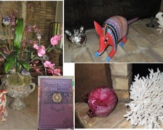 Home decor.  Floral - foo dog - decorative books - coral and pig collection
