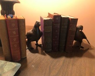 books and some awesome copper bird bookends