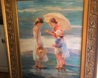 Painting of two friends and a little brother examining a human finger that had washed ashore (I'm watching Forensic Files right now)