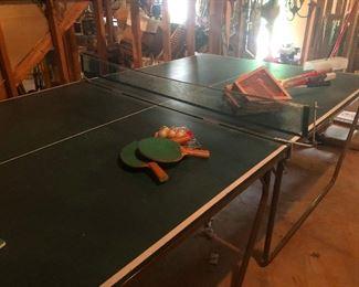 ping pong table, vintage tennis racket