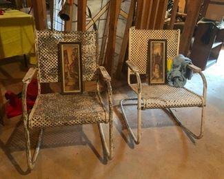 rusty folk art metal patio chairs