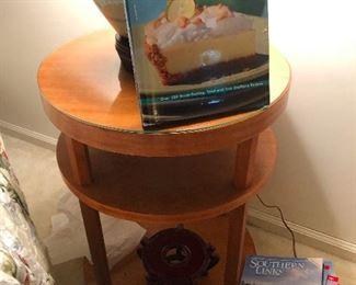 circular end table and lemon meringue pie