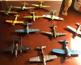 collection of vintage metal model airplanes miniatures