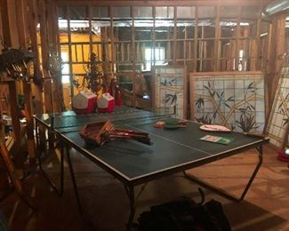 ping pong table, coolers, tennis rackets oh my!