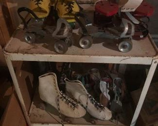 a collection of vintage roller skates (With brand-new key . . . I think that we should get together and try them out, you see)