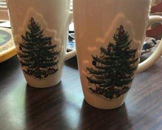 Spode christmas mugs sporting a festive fungus design