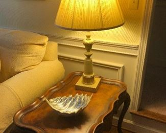 French provincial end table and table lamp