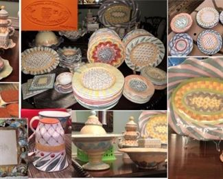Makenzie Childs China - So many pieces! Plates large and small, huge platters, candlesticks and frames, salt-pepper, tea sets.  Biggest collection we have seen.  Many patterns