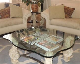 Contemporary table set: Coffee table and 2 side tables. Large and heavy