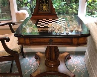 Marble top Game table & Grandmother clock