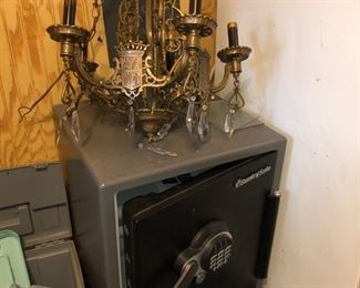 Sentry safe with combo & bronze chandelier