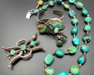 Vintage sterling silver Native American jewelry and turquoise beaded necklace, 50% off. The scorpion cuff bracelet is already sold.