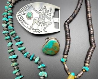 Vintage southwest style and Native American jewelry including a striking sterling silver Hopi belt buckle, all 50% off.
