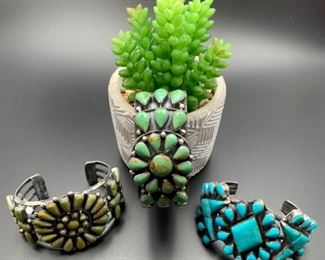 Sterling silver and Kingman turquoise vintage Native American cuff bracelets, all 50% off.