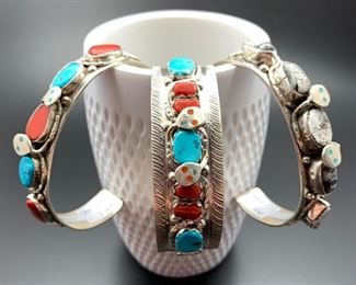 Zuni snake bracelets by a famous family - center bracelet is by Effie Calavaza, the others by her daughter Jude Candelaria. Effie recently passed away at the age of 95. All 50% off.