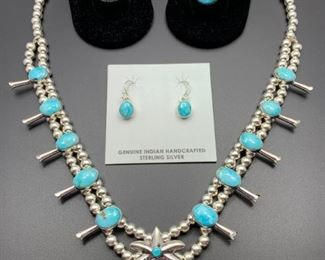 Native American squash blossom set and fabulous unisex sterling silver rings (not native but hand crafted and featuring wonderful turquoise.) All 50% off.
