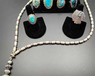 Vintage sterling silver beaded necklace along with great turquoise rings by Henry Yazzie and others, all 50% off.