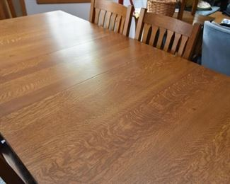 Mission Oak Dining Table & 6 Chairs by Stickley (2 Captain's Chairs & 4 Side Chairs)