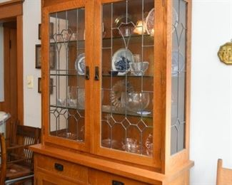 Mission Oak China Cabinet with Leaded Glass Doors by Stickley