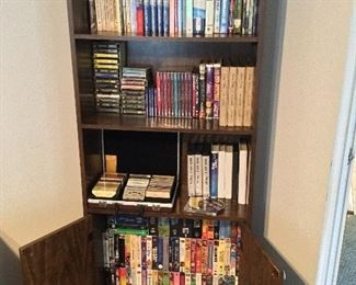 Media cabinet and DVD's, cds, tapes, vhs