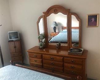 Bedroom set.  Dresser with mirror, bed, nite stands,