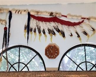 Very large Native American feather staff Artwork Wall Decor.