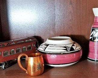 Southwest decor items and vintage train.