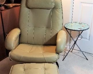 Very comfortable like new leather chair and stool.