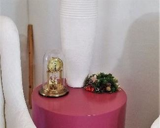 Unusual round side table. Great for an accent table in your home where you need a splash of color.  Or change the color!