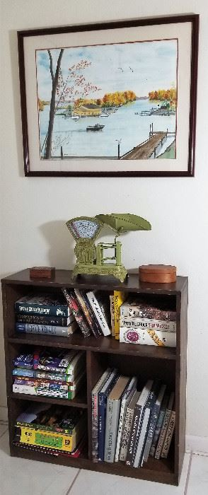 Books and bookshelves available.