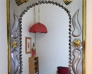 Silver and Gold metal mirror.