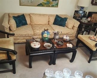 CHINOISERIE HORSESHOE CHAIRS , TABLES, SOFA by HICKORY CHAIR CO.