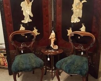 AUTHENTIC PERIOD VICTORIAN CHAIRS & LARGE 2 PANEL ORIENTAL SCREEN