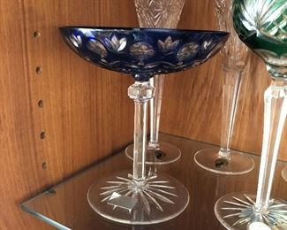 Bohemian Crystal Cut to clear Long stemmed candy dish in cobalt