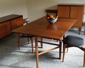 "Gate leg dining table (Denmark) $500 Bramin Rosewood Dining Chairs (Denmark)- Set of 4 SOLD Beech & Walnut Buffet (Denmark) $700 Beech & Walnut ""bar"" (Denmark) $700"