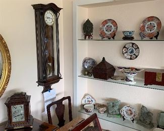 Vienna wall clock wt. driven time & chime. English bracket clock. Imari plates English and Japanese