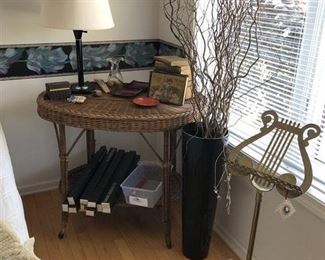 Side Wicker/Iron Table, Large Candles, actually MANY candles at this sale.