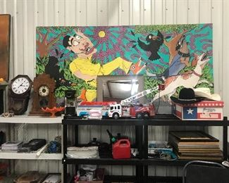 Large painting, toys, misc