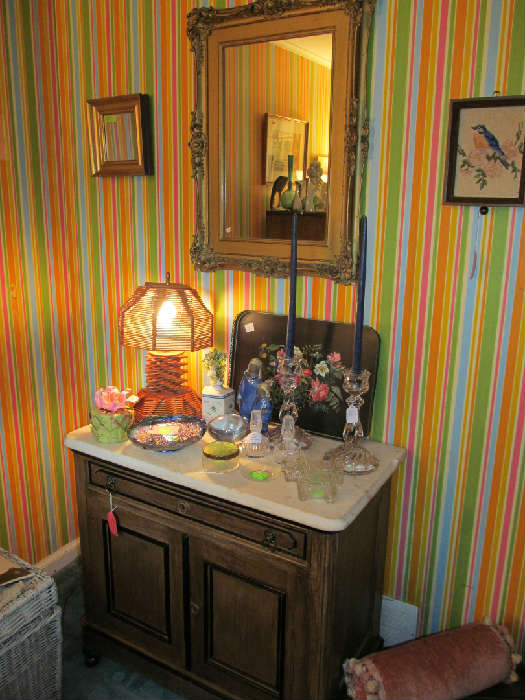 Marble Top Dresser, Arts & Crafts Lamp, Antique Mirror