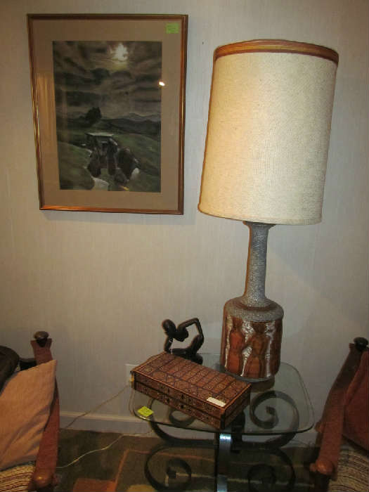 1960's Italian, Designer Table Lamp, Wrought Iron and Glass Top Table, Local New Jersey Artist Watercolor, Inlaid Backgammon Set.