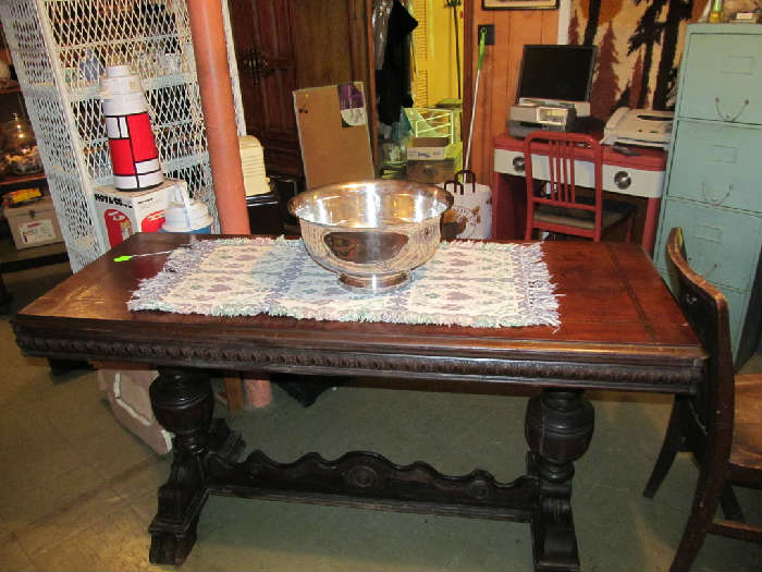 Wonderful 1920's Inlaid Dinning Table, Silver Plate Punch Bowl