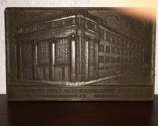 Reserve Loan  Life Insurance Company Brass Plaque
