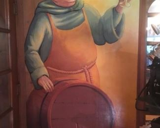 Life-size mural of fryer serving beer. Perfect for the bar or man-cave!
