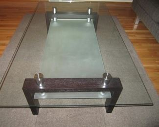 GLASS TOP COCKTAIL TABLE AND MATCHING SOFA TABLE