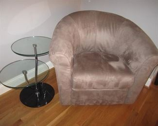 END TABLE AND PAIR OF MATCHING SUEDE CHAIRS